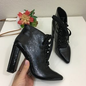 Zara Woman black patent leather military heel boot